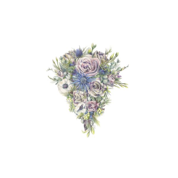 Wedding Bouquet Illustration by botanical illustrator Charlotte Argyrou