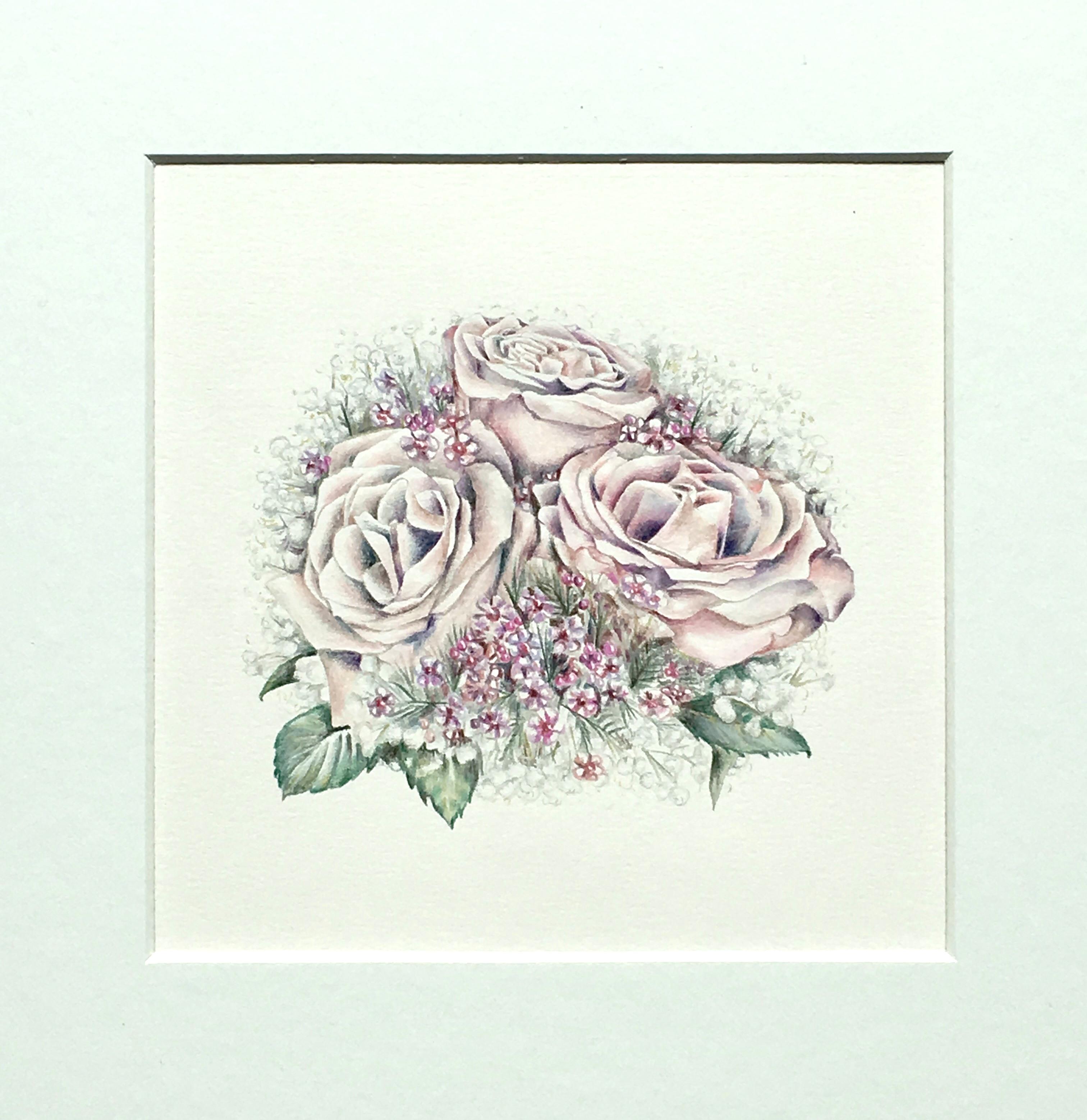 Wedding Bouquet Illustration Service for blogger Megan Taylor by botanical artist Charlotte Argyrou