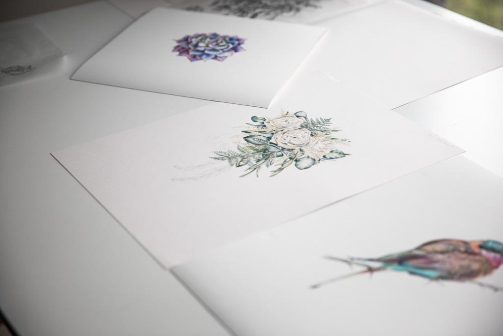 Botanical artist illustrator Charlotte Argyrou's home studio in London UK
