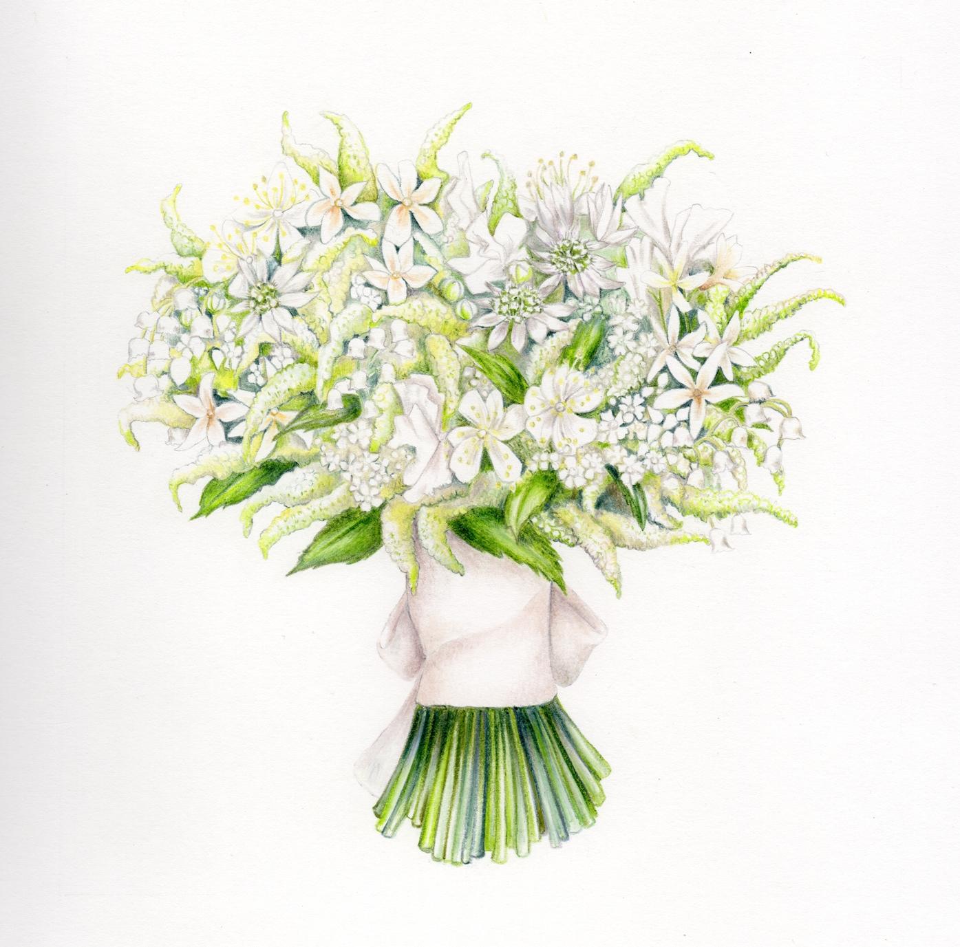 Duchess of Sussex wedding bouquet illustration by Charlotte Argyrou