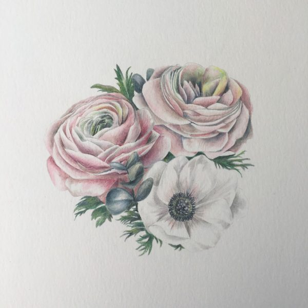 Mini Wedding Bouquet Illustration Service by botanical illustrator Charlotte Argyrou