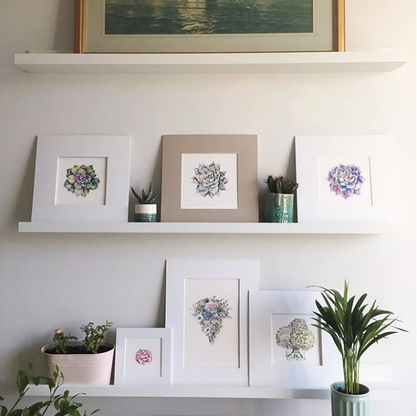IKEA Mosslanda shelves Charlotte Argyrou Illustration home studio
