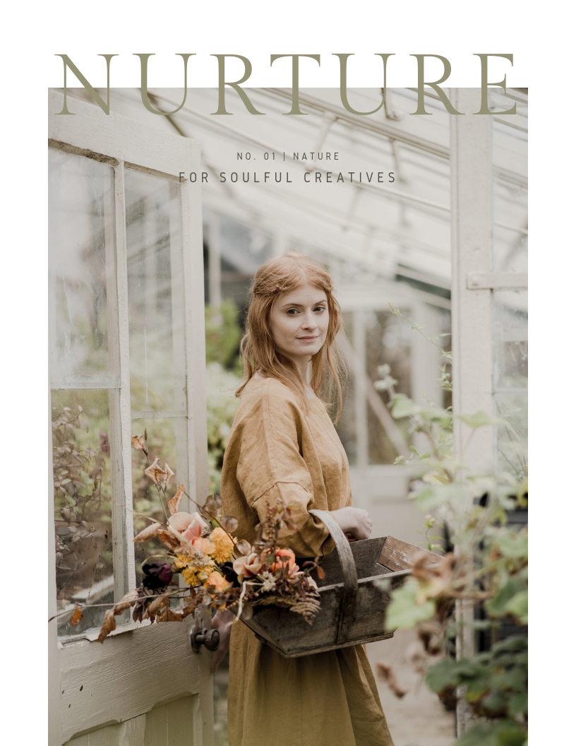 Nurture Magazine cover in hygge rituals blog post by botanical illustrator Charlotte Argyrou