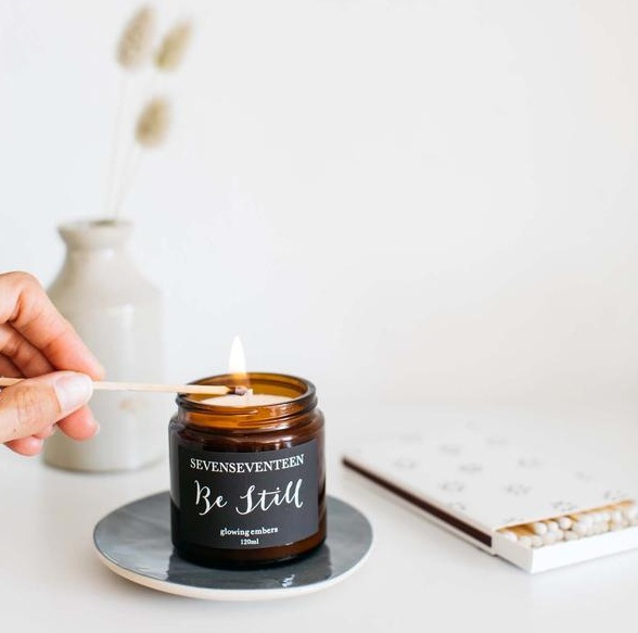 hygge rituals Be Still candle by Seven Seventeen on botanical artist Charlotte Argyoru's blog
