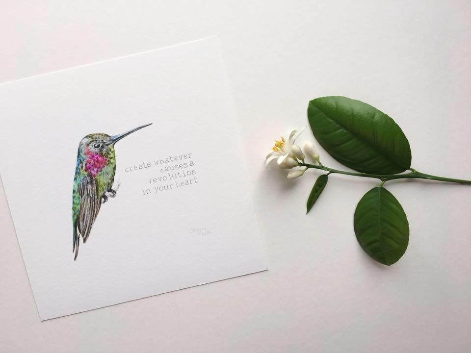 Illustration by botanical artist Charlotte Argyrou. Elizabeth Gilbert quote.