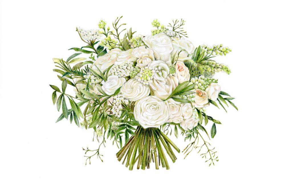 Wedding Bouquet Illustration Service by botanical illustrator Charlotte Argyrou anniversary gift wedding gift