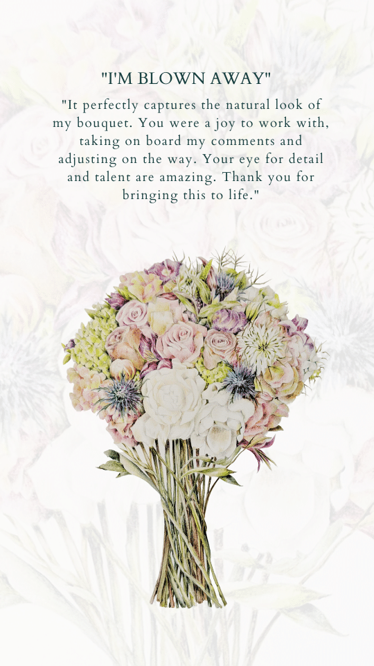 wedding bouquet illustration review for charlotte argyrou